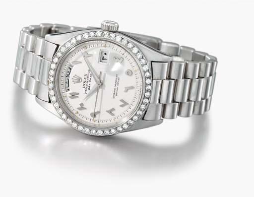Rolex. A fine platinum and dia