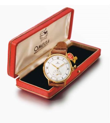 Omega. An 18K gold wristwatch