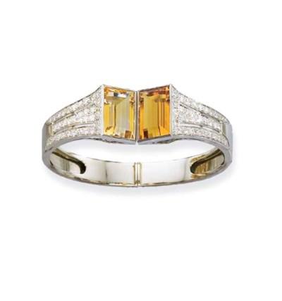 A CITRINE AND DIAMOND BANGLE