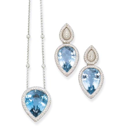 A PAIR OF BLUE TOPAZ AND DIAMO