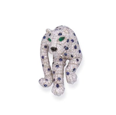 A DIAMOND AND SAPPHIRE 'PANTHE