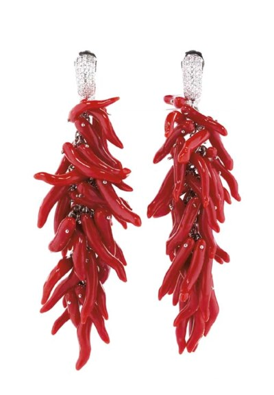 A PAIR OF CORAL AND DIAMOND 'P