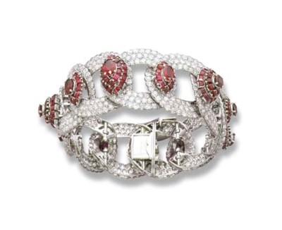 A RUBY AND DIAMOND BRACELET, M