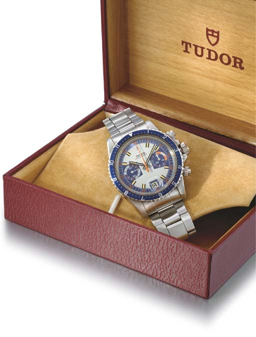 Tudor. A fine stainless steel waterproof chronograph wristwatch with date and bracelet