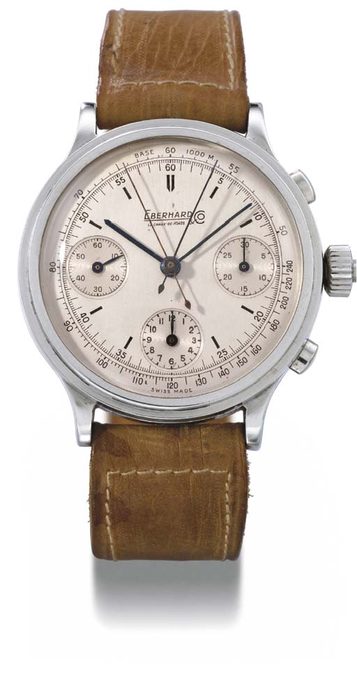 Eberhard. An unusual oversized stainless steel split seconds chronograph wristwatch with two-tone silvered dial