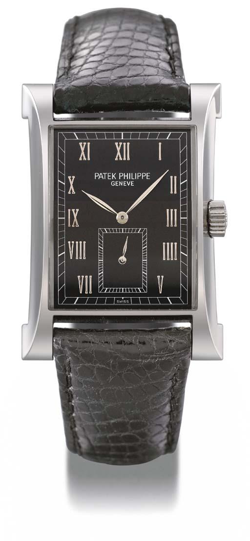 Patek Philippe. A fine and rare platinum limited edition rectangular-shaped wristwatch