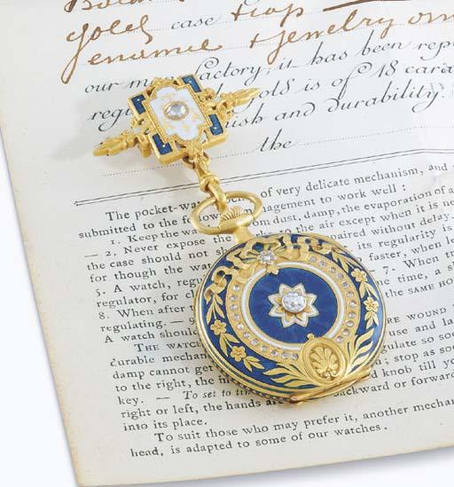 Vacheron Constantin. A fine 18K gold, enamel and diamond-set openface keyless lever pendant watch with matching brooch