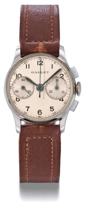 Gallet. An unusual stainless steel mid-size chronograph wris