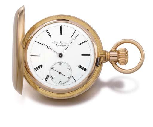 Jules Jürgensen. A fine 18K gold hunter case keyless lever watch