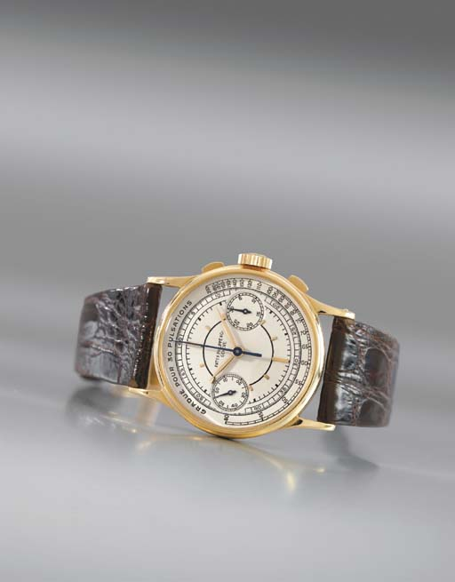 Patek Philippe. A fine and rare 18K gold chronograph wristwatch with sector dial and pulsometer