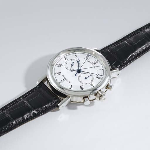 Breguet. A fine and large 18K white gold split seconds chronograph wristwatch