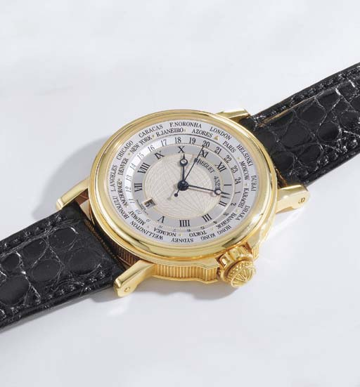 Breguet. A fine 18K gold self-winding World Time wristwatch with sweep centre seconds and date