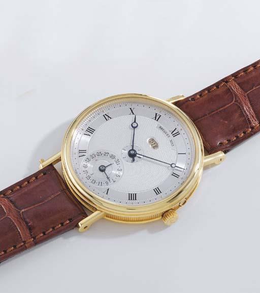 Breguet. A fine and rare 18K gold self-winding linear perpetual calendar wristwatch