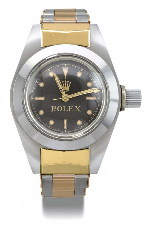 Rolex. An extraordinary and rare, historically interesting stainless steel, gold and gilt tonneau-shaped self-winding waterproof diver's wristwatch with sweep centre seconds and date