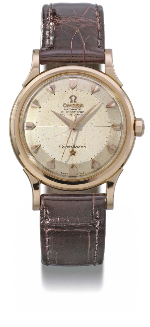 Omega. An 18K pink gold self-winding wristwatch with sweep centre seconds