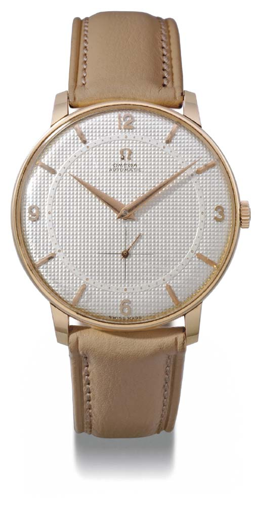 Omega. An unusual 18K pink gold self-winding oversized wristwatch with engine-turned dial