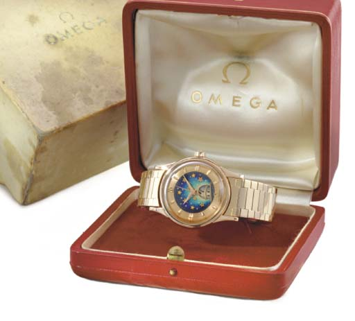 Omega. A very fine and rare 18K pink gold self-winding water-resistant wristwatch with sweep centre seconds, cloisonne enamel dial and original box