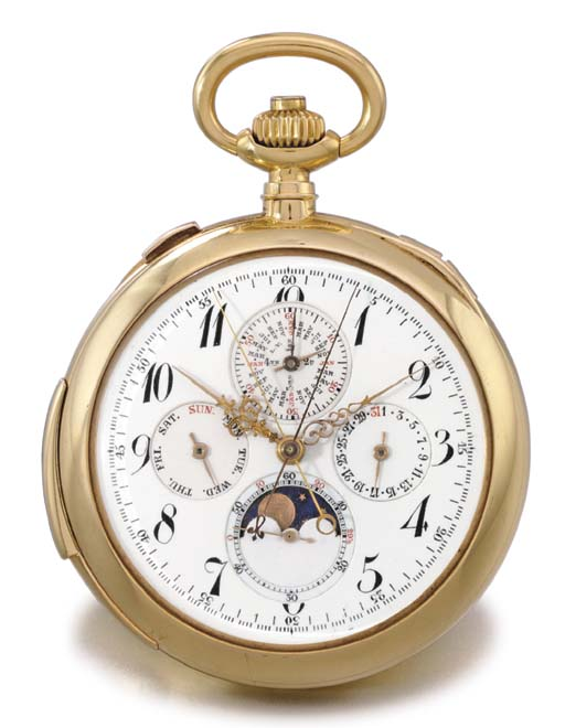 Swiss. A fine 18K gold openface minute repeating perpetual calendar split seconds chronograph keyless lever watch with phases of the moon