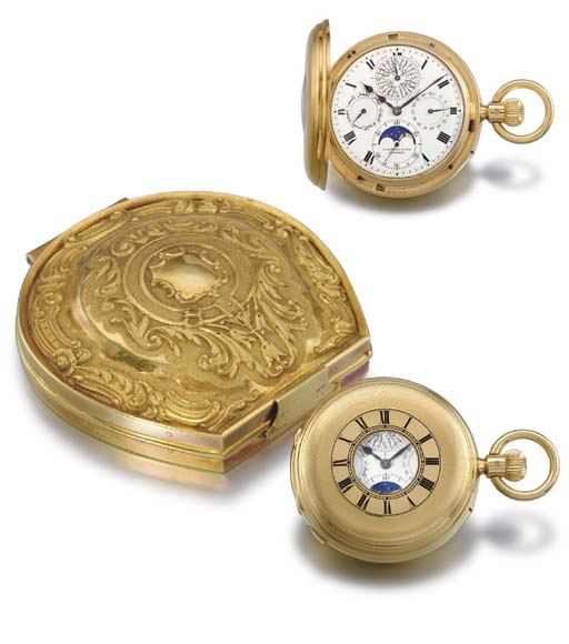 Samuel & Son. A highly unusual and rare 18K gold half hunter case minute repeating grande and petite sonnerie perpetual calendar keyless lever clock watch with phases of the moon, made for the Turkish Market