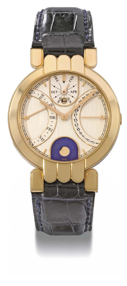 Harry Winston. An 18K gold self-winding double retrograde perpetual calendar wristwatch with phases of the moon