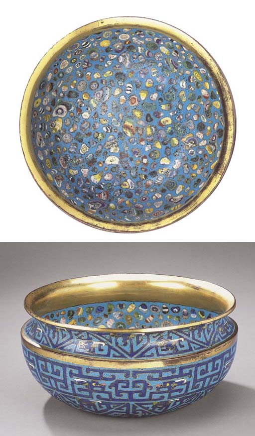 A VERY RARE LARGE CLOISONNE EN