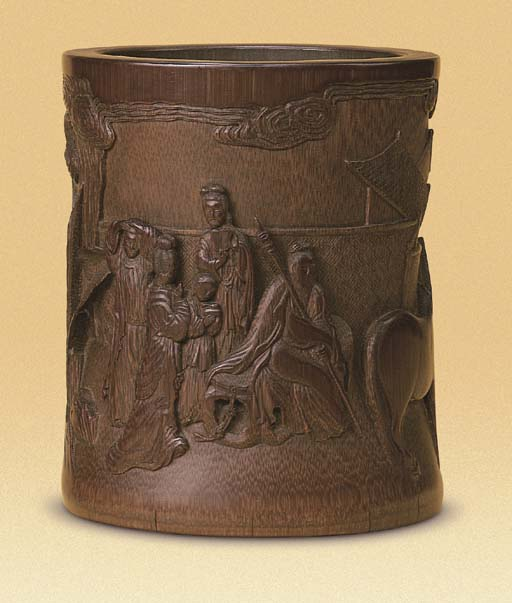 A FINELY CARVED CYLINDRICAL BA