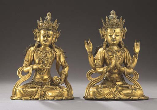 TWO GILT-BRONZE SEATED FIGURES
