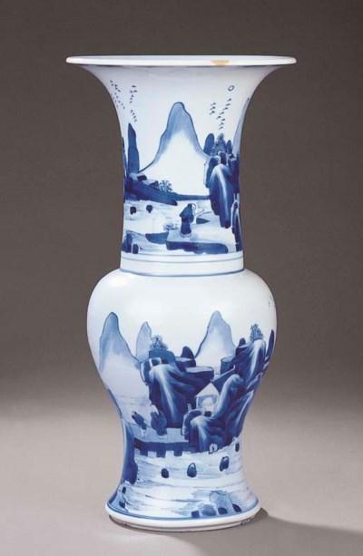 A BLUE AND WHITE YENYEN VASE