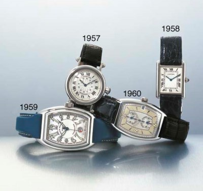 CARTIER. A PLATINUM WRISTWATCH