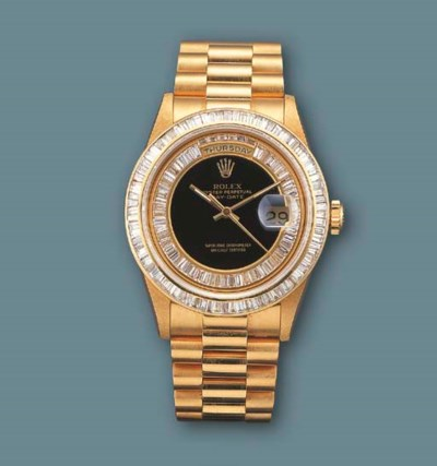 ROLEX. AN 18K GOLD AND DIAMOND