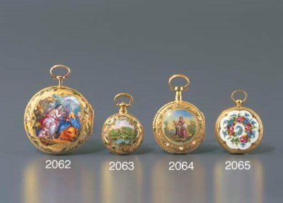 SWISS. A GOLD AND ENAMEL VERGE