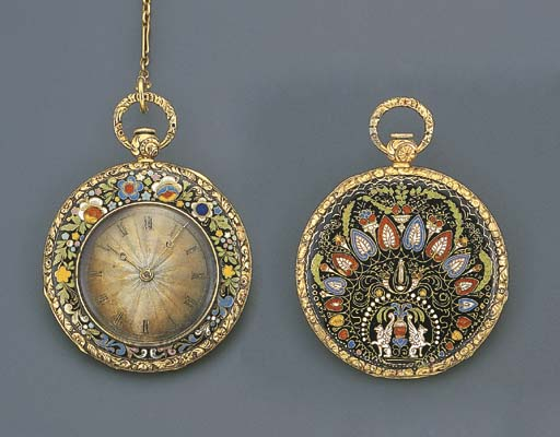 FRENCH. AN 18K GOLD AND ENAMEL