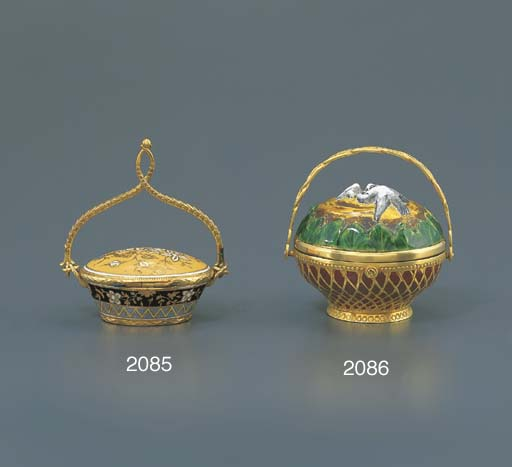 AIME. A GOLD AND ENAMEL BASKET