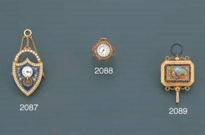 SWISS. AN 18K GOLD, ENAMEL, DI