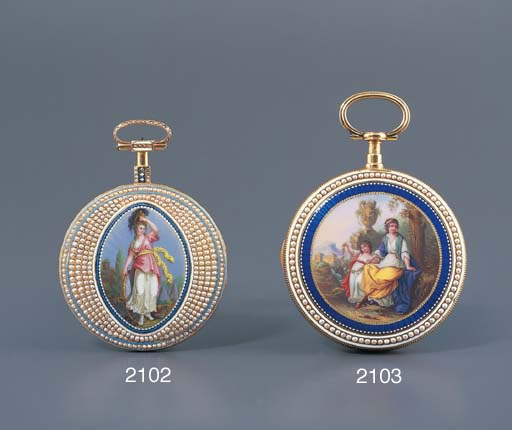 SWISS. A GOLD, ENAMEL AND PEAR
