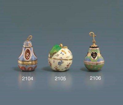 SWISS. A GOLD AND ENAMEL PEAR-