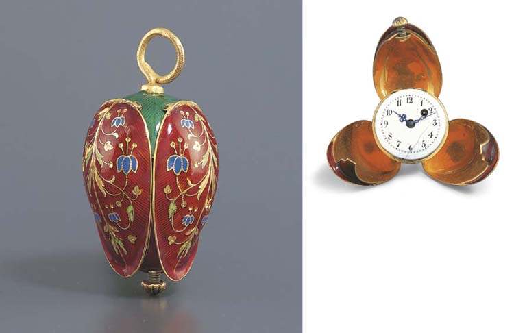 SWISS. A PINK GOLD AND ENAMEL