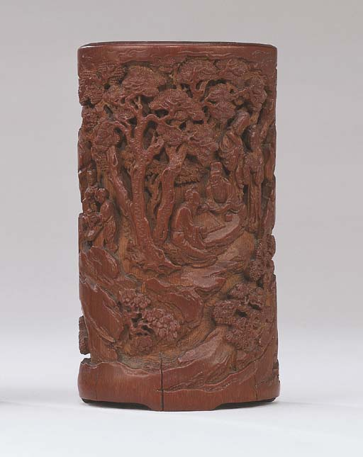 A WELL CARVED BAMBOO BRUSHPOT