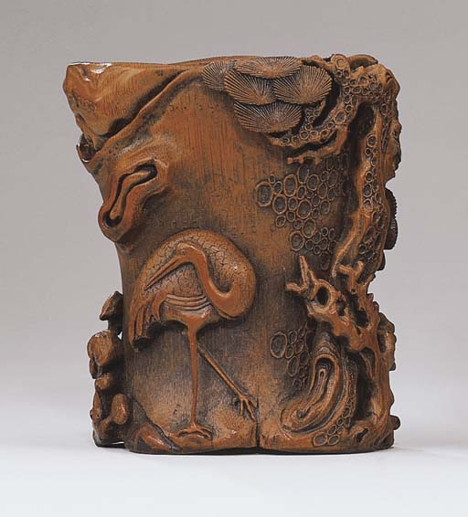 A CARVED BAMBOO 'AGED PINE' BR