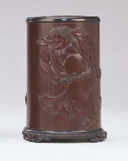 A FINELY CARVED BAMBOO 'LIUHAI