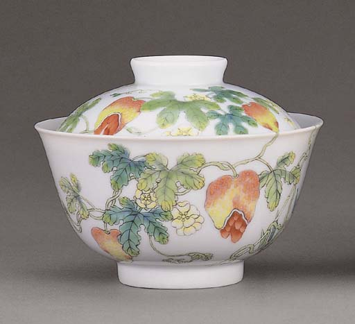 A FAMILLE ROSE TEABOWL AND COV