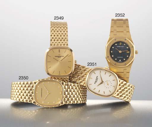 AUDEMARS PIGUET. AN 18K GOLD AND DIAMOND-SET TONNEAU-SHAPED AUTOMATIC WRISTWATCH WITH DATE AND BRACELET