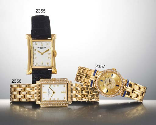 PATEK PHILIPPE. A LADY'S 18K GOLD AND DIAMOND-SET RECTANGULAR WRISTWATCH WITH BRACELET