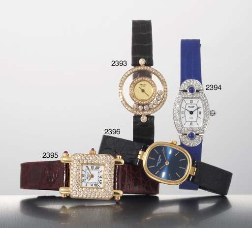 CHOPARD. A LADY'S 18K GOLD, DIAMOND AND RUBY-SET SQUARE WRISTWATCH