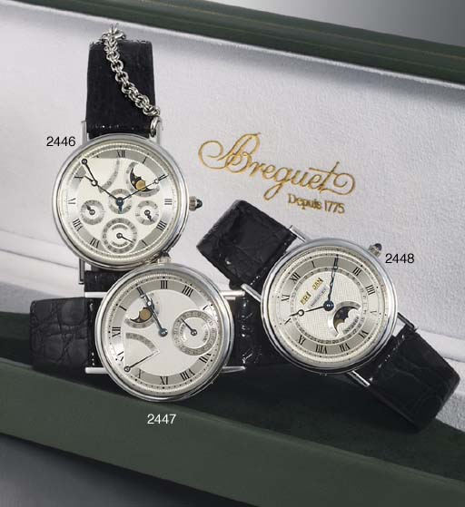 BREGUET. A FINE 18K WHITE GOLD AUTOMATIC TRIPLE CALENDAR WRISTWATCH WITH PHASES OF THE MOON