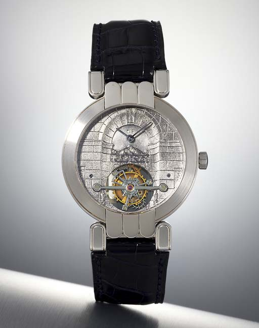 HARRY WINSTON. A FINE PLATINUM TOURBILLON WRISTWATCH