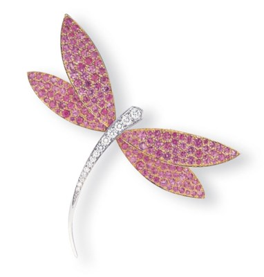 A PINK SAPPHIRE AND DIAMOND