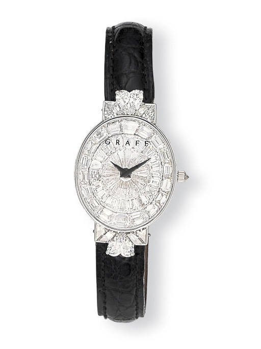 A LADY'S WHITE GOLD AND DIAMON