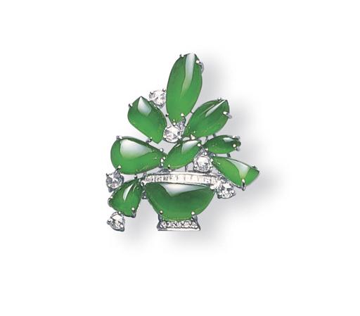 A JADEITE AND DIAMOND FLOWER B