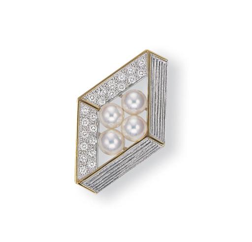 A CULTURED PEARL AND DIAMOND O
